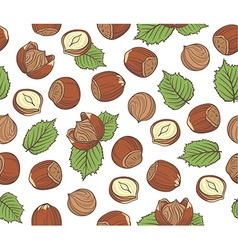 Seamless pattern with hand drawn hazelnuts on vector image