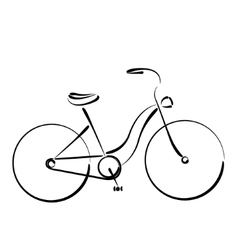 Sketched female bicycle isolated on white vector image
