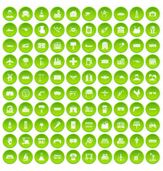 100 industry icons set green circle vector