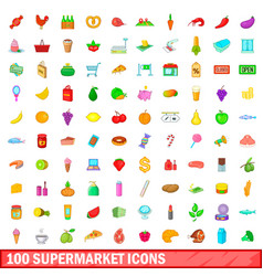 100 supermarket icons set cartoon style vector