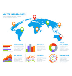 3d globe infographics world map information vector image