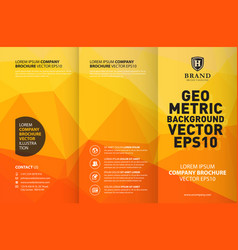 abstract yellow geometric trifold brochure design vector image