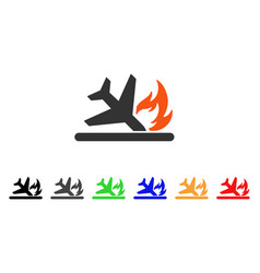 airplane landing crash icon vector image