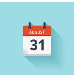 August 31 flat daily calendar icon Date vector