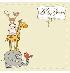 baby shower card with funny pyramid of animals vector image