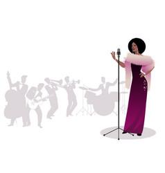 beautiful and elegant jazz singer singing solo vector image