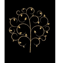Beautuful Golden Tree on Black Background vector image