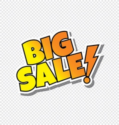 big sale cartoon text sticker vector image