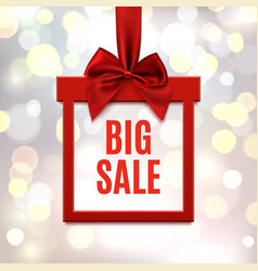 Big sale square banner in form of gift vector