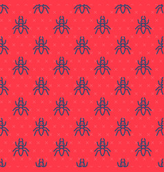 Blue line ant icon isolated seamless pattern vector