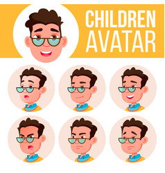 Boy avatar set kid high school face vector