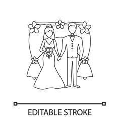 Bride and bridegroom linear icon vector