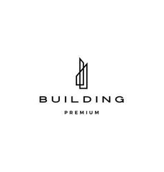 building logo icon line outline monoline vector image
