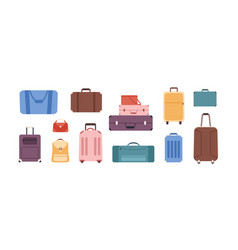 cartoon colored baggage bag set isolated on white vector image