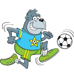 Cartoon gorilla playing soccer vector