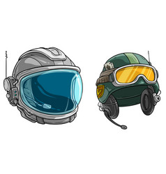 Cartoon space astronaut and army soldier helmet vector
