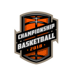 championship basketball sports logo emblem vector image