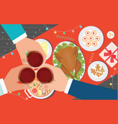 Christmas dinner and eating delicious food on the vector