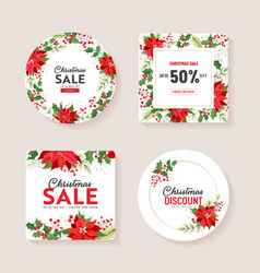christmas season offer winter holiday sale vector image