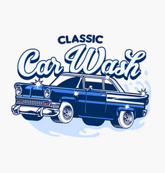 classic car wash design vector image
