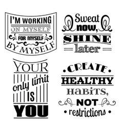 Collection healthy quotes typographical vector