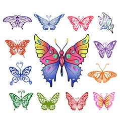 Colored butterfly logo set vector image