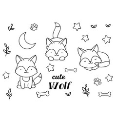 Coloring pages black and white set cute kawaii vector