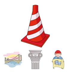 column master with drawing bridge index cone vector image