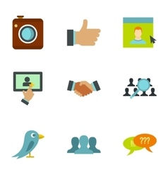 Communication via internet icons set flat style vector