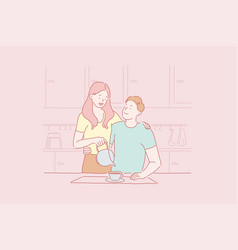 concept breakfast for a couple in love young vector image
