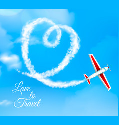 Condensation trail heart realistic vector