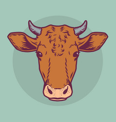 Cow brown head icon cartoon drawn style vector