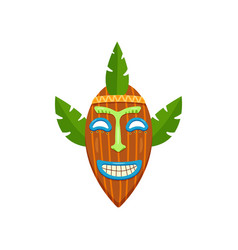 cute african almond-shaped mask with smiling mouth vector image