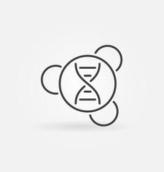 dna in molecule minimal icon in thin line vector image