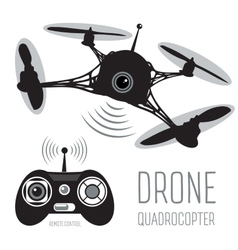 drone quadrocopter set with action camera vector image