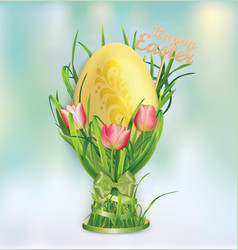 easter egg and egg cup of grass and tulips vector image