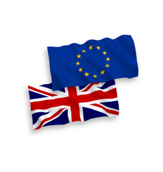 european union and great britain flags vector image