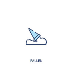 Fallen concept 2 colored icon simple line element vector