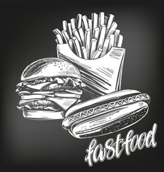 Fastfood set french fries hot dog hamburger vector