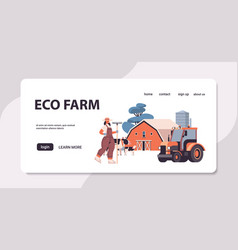 female farmer in uniform holding rake eco farming vector image