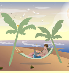 freelancer summer vacation work vector image