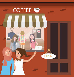 Friends hangout in coffee shop restaurant meeting vector
