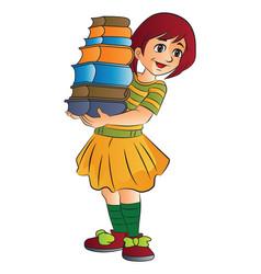 Girl carrying books vector