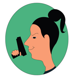 girl with a gun on white background vector image