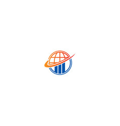 globe earth orbit business technology logo vector image
