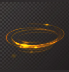 Gold circle light effect glowing fire ring trace vector