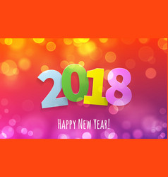 gold glitter 2018 happy new year text black vector image