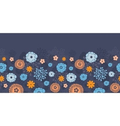 Golden and blue night flowers horizontal vector