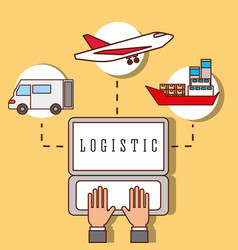 Hands working laptop logistic truck plane and vector