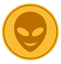 Happy alien head gold coin vector